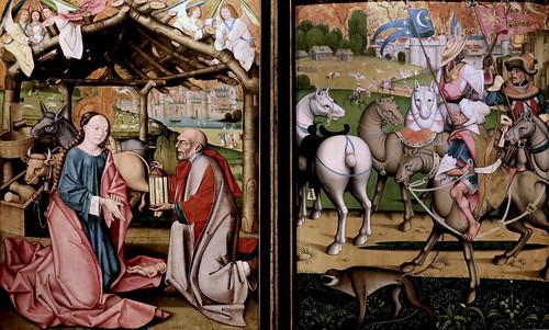 IMG_1200KZYC Maitre de la Déploration de Sarnen  Master of Sarnen's Lamentation  Vers 1475 Suisse Nativité et La chevauchée des Rois Mages.  Nativity and The Ride of the Three Kings. Dijon Musée des Beaux Arts.