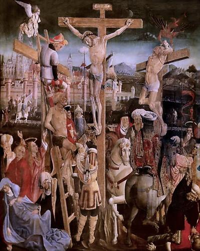 IMG_1200KZV X Savoie vers 1500  Le Christ en croix entre les deux larrons.  Christ on the cross between the two thieves Dijon . Musée des Beaux Arts