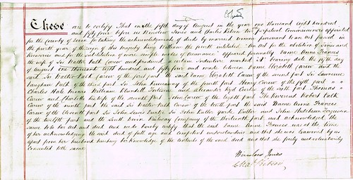 Acknowledgement of Deeds by Commissioners of Dame Anne Francis Carew, Exeter, Devon 1854 p1
