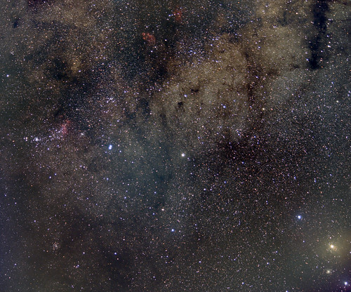 Wide field between Cats paw nebula and Rho Ophiucus (Jupiter in the middle)