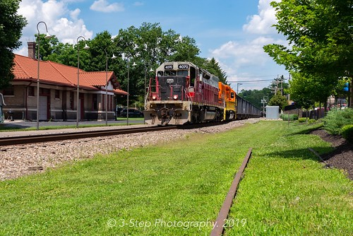 The stone train southbound on the B&O in Loveland. June 29, 2019.
