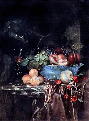 IMG_1240 Harmen Loeding 1637-1673 Leiden Bol de fruits et horloge Schale mit Früchten und Uhr Bowl with fruits and clock  Schwerin.Staatliches Museum