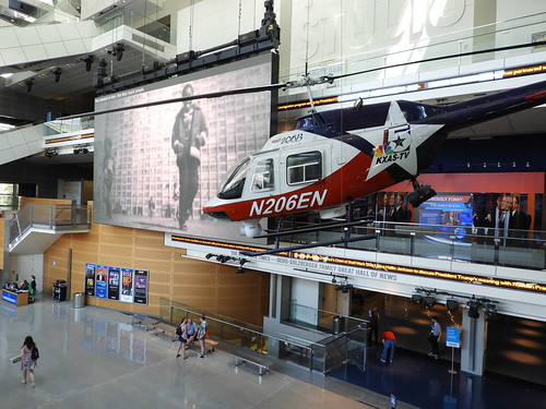 On display in Washington DC's Newseum. This helicopter, Bell 206B JetRanger II,  was built in 1975 and eventually returned to Bell. In turn, it was painted in a KXAS News livery and donated to the Newseum.