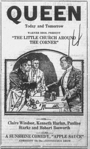 1923 advertisement for film ''The Little Church Around the Corner''