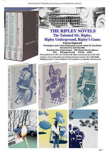The Ripley Novels : The Talented Mr. Ripley,  Ripley Underground, Ripley's Game by Patricia Highsmith - FOLIO SOCIETY
