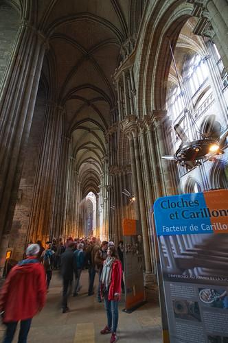 people, light, colour, mood movement, inside Cathédrale Notre-Dame de l'Assomption de Rouen (Rouen Cathedral), Rouen, Seine-Maritime, Normandie, France