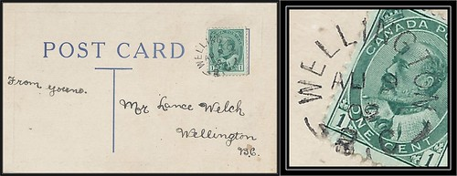 British Columbia / B.C. Postal History - 9 August 1909 - WELLINGTON, B.C. (split ring / broken circle / postmark) to Wellington, B.C.