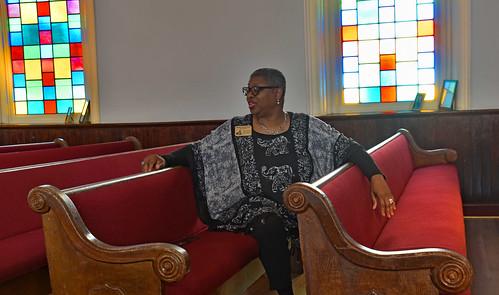 Tour Director Wanda Howard Battle -- Dexter Avenue King Memorial Baptist Church Montgomery (AL) March 2019
