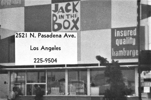 Jack in the Box Hamburger Restaurant walk up window ad for  Sacred Heart High School in Los Angeles, CA 1970