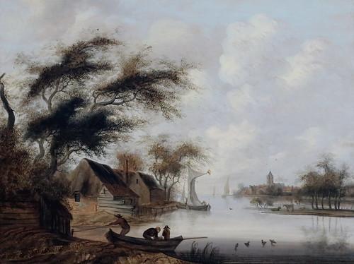 IMG_0043H Jacob van der Croos  1630-1691 Amsterdam La Haye  Barque au bord d'une rivière  Boat at the edge of a river Besançon Musée des Beaux Arts