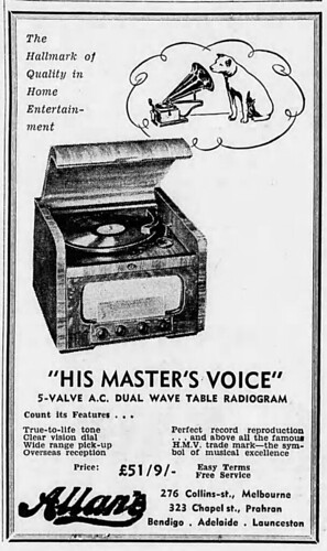 1950 advertisement for HMV Radiogram