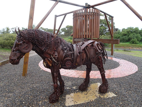 Kapunda. The sculpture of a horse which would have worked the whim on the copper mine site. The whim hauled the buckets of water or copper  ore to the ground level.