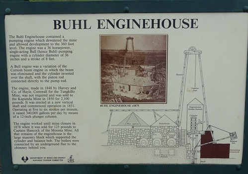 Kapunda. Information about the Buhl or Bull Enginehouse and pump. It was used for the copper mines from 1851 to 1878.