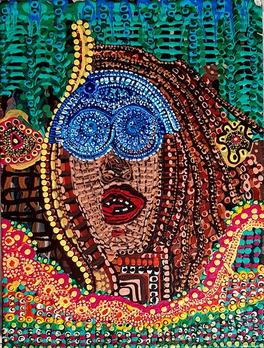 Pintura multicolor moderna en acrilico