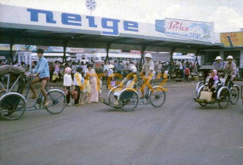 Saigon 1966 Street Scene Signs People Cyclos Taxi