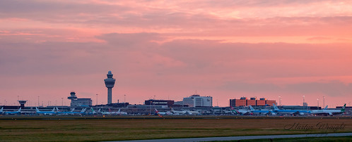 Sunset at Schiphol Airport, Amsterdam, Netherlands.