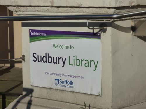 Sudbury Library - Corn Exchange - Market Hill, Sudbury - sign - Welcome to Sudbury Library