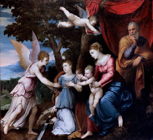 IMG_1202F Girolamo da Carpi 1501-1556 Ferrare  Sainte famille, sainte catherine et un Ange Holy family, Saint Catherine and an Angel Dijon Musée des Beaux Arts.  Entourage du peintre. painter's entourage.