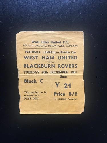1961-62 West Ham United 2 v 3 Blackburn Rovers