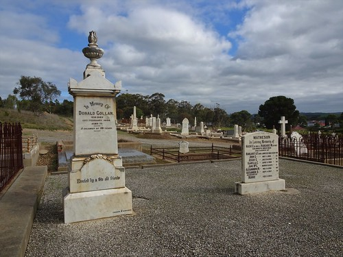 Strathalbyn.  The town was established in 1839. The cemetery was also established early.  The Gollans were a pioneering family that took up pastoral lands around Lake Alexandrina and Lake Albert.
