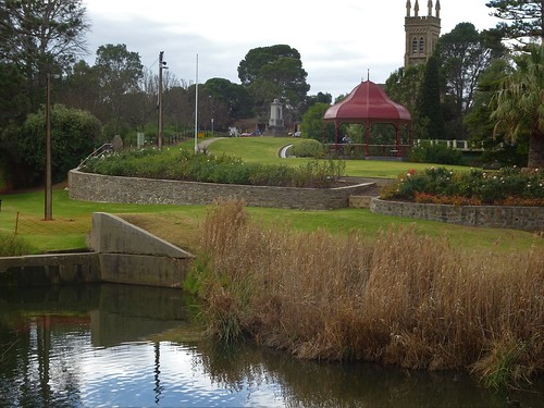 Strathalbyn established in 1839.  Reflections in the Angas River with the Rotunda and spires of St Andrews Presbyterian Church in the distance.