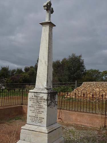 Strathalbyn cemetery. The headstone of Gemmel Rankine. The Rankine brothers were founders of Strathalbyn in 1839. There is a settlement outside the town called Gemmels.