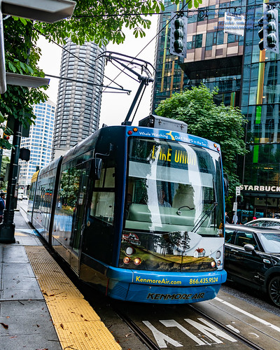 Seattle Streetcar Coming to A Station in Kenmore Air Livery