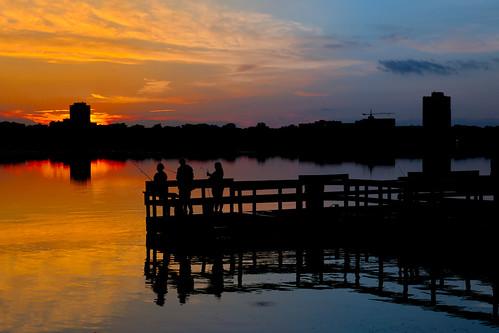 Sunset over fishing dock, Lake Calhoun / Bde Maka Ska