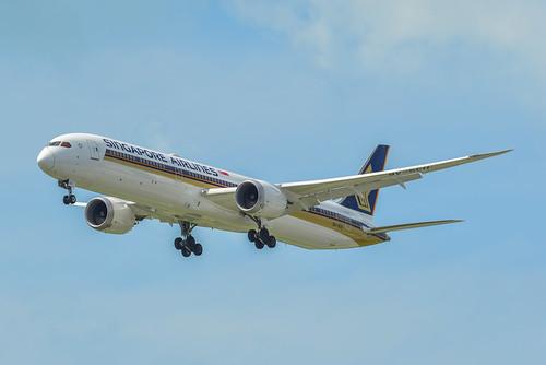 Airplane landing at Singapore Airport