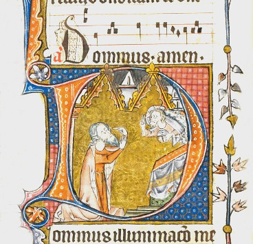 26v aThe Howard Psalter-The British Library- Initial 'D'(ominus) of David pointing to his eye with God blessing him