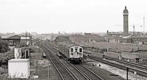 00b The Ebonite Tower of 1870 and a North London Line train to Broad Street,1979. Photo by Kevin Lane