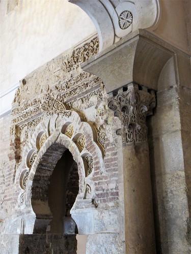 Column capital and horseshoe arch, north side halls, Aljafería Palace, Zaragoza, Spain