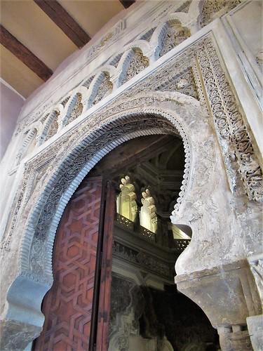 Portal and glimpse into mosque, Aljafería Palace, Zaragoza, Spain