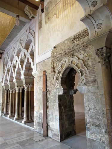 Horseshoe arch portal, tracery porticoes, Aljafería Palace, Zaragoza, Spain
