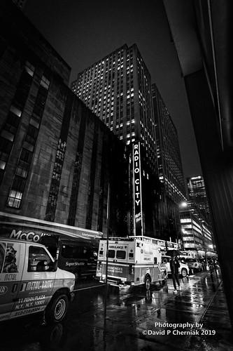 Thunderstorms Ambulance Radio City Music Hall Rockefeller Center 6th Ave. W 51 St. BW (1965) CaptDave's Birthday NYC, NY 7-11-2019.