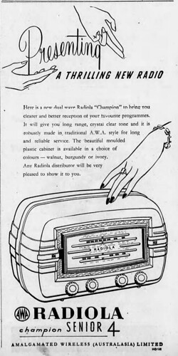 1951 advertisement for the AWA Radiola Champion Senior 4 radio