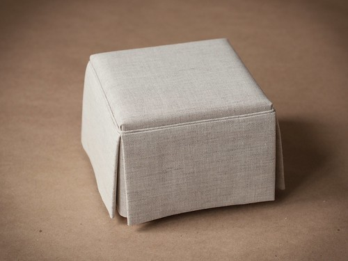 1/4 scale Skirted Ottoman for Dolls, Natural Color Linen Upholstery