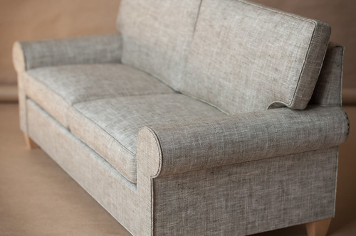 1/4 scale Classic Doll Couch with Down Cushions, Gray Linen Upholstery, Traditional Doll Couch, Grey Doll Sofa