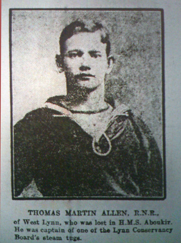 Thomas Martin Allen, (West Lynn), lost with the sinking of the Aboukir 1914