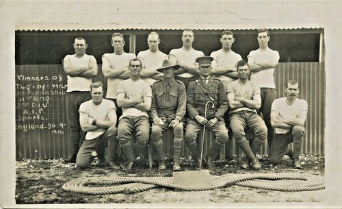 WINNERS OF TUG OF WAR CHAMPIONSHIP - 11th BRIGADE 3rd DIVISION AUSTRALIAN INFANTRY FORCES - 30 Sept 1916