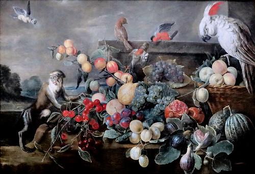 IMG_0053F Adriaen van Utrecht 1599-1652 Anvers Nature morte aux fruits avec singe et perroquet Still life with fruit with monkey and parrot 1652 Besançon Musée des Beaux Arts
