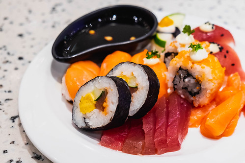Close up of delicious sushi plate