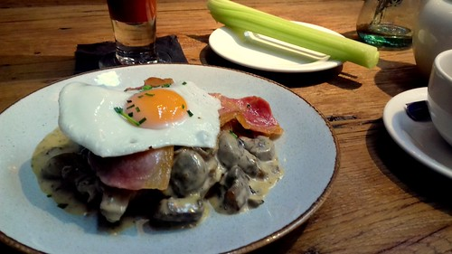 Brioche Champignons with Alsace Bacon and Fried Egg