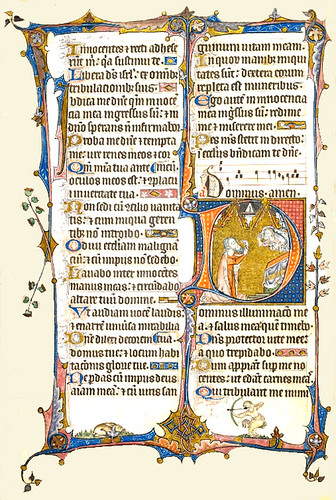26v The Howard Psalter-The British Library- Initial 'D'(ominus) of David pointing to his eye with God blessing him