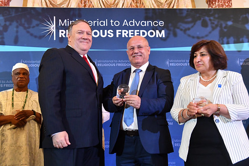Secretary Pompeo Poses a Photo With William and Pascale Warda of Iraq
