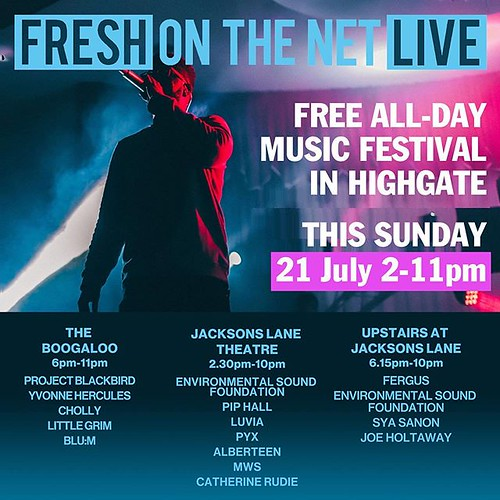 NORTH LONDON THIS SUNDAY: #FreshOnTheNetLive at @Jacksons_Lane and @TheBoogalooPub with @AlberteenMusic @LittleGrimMusic @PyxBand @Catherine_Rudie @mwsduo @ChollyMusic @piphallmusic @LuviaMusic @endof_thetrail @neil.march @JoeHoltaway @thisisfaultress @fe