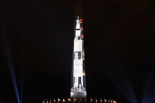 Saturn V Moon Rocket Projection on Washington Monument 06