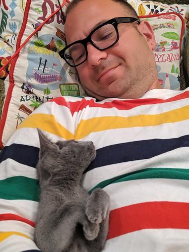 Birthday morning cat cuddle with Warlock, home, Burbank, California, USA