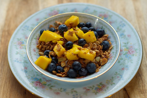 Tahini Cardamom Granola with Blueberriers & Mango