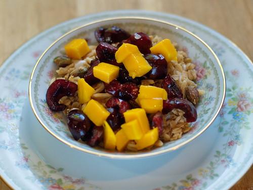 Coconut Cardamom Granola with Yogurt, Cherries & Mango